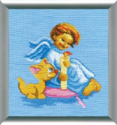 Embroidery Counted cross stitch kit Charivna mit #280 Angel Kitty 18x18 cm / 7.09x7.09 in
