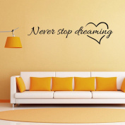 "Sunbona "" Never Stop Dreaming "" Removable Art Vinyl Mural Home Room Office Decor Quotes Wall Stickers for Bedroom Living Room Kids Nursery Room"