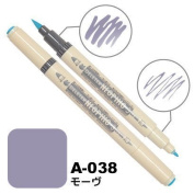 Deleter Neopiko-3 Watercolour Dual-Tip Marker Pen Single [ A-038 Mauve ] [For Cloth and Paper Use] for Comic Manga Graphic Art Illustration