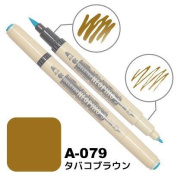 Deleter Neopiko-3 Watercolour Dual-Tip Marker Pen Single [ A-079 Tobacco Brown ] [For Cloth and Paper Use] for Comic Manga Graphic Art Illustration
