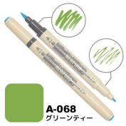 Deleter Neopiko-3 Watercolour Dual-Tip Marker Pen Single [ A-068 Green Tea ] [For Cloth and Paper Use] for Comic Manga Graphic Art Illustration