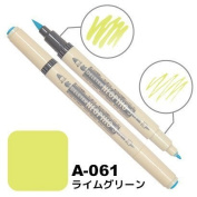 Deleter Neopiko-3 Watercolour Dual-Tip Marker Pen Single [ A-061 Lime Green ] [For Cloth and Paper Use] for Comic Manga Graphic Art Illustration