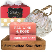 Luxurious Valentines Day Gift Set (Red Wine & Rose Soap) Add Personalised Name or Message - Handmade Soap Bath Gift Set, Includes Loofah & Bamboo Soap Dish Tray