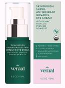 Vernal SKINourish – Super Antioxidants Organic Eye Cream for Puffiness, Wrinkles, Dark Circles – With USDA Cert. Organic Primrose, Mango, Cocoa & Aloe - Best Natural Anti Ageing Eye Cream - 30ml