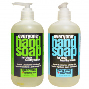 Everyone Botanical Spearmint and Lemongrass Hand Soap and Everyone Botanical Ylang Ylang and Cedarwood Hand Soap Bundle With Spearmint, Lemongrass, Ylang Ylang Essential Oils and Aloe, 380ml each