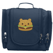 Travel Toiletry Bags Bear Burger Hamburger Washable Bathroom Storage Hanging Cosmetic/Grooming Bag For Household Business Vacation, Multi Compartments, Waterproof Lining
