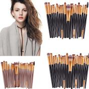 20 Pcs Makeup Brush Set (Foundation Powder Brush,Lip Brush,Mascara Brush,Eyeshadow Brush,Two Side Brush,Eyebrow Mascara Brush,Sponge Brush,Smudge Brush,Nose Shadow Brush,So on)