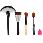 Anself 5pcs Makeup Brushes Set Oral Makeup Brush Fan-shaped Brush Foundation Brush Oblique Head Blusher Brush