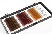 Mixed C-Curl Brown Synthetic Mink Eyelash Extension Tray by INFINIT | 14 Rows of Diverse Brown Colours and Sizes - Thickness