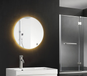 ShellKingdom Round LED Wall Mounted Lighted Vanity Bathroom Silvered Illuminated Mirror with Touch Button ,50cm ,