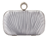 Women's Pleated Satin Evening Bag Beaded Finger Ring Prom Hand Clutch Hardbox