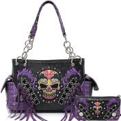 Cowgirl Western Concealed Carry Day of The Dead Sugar Skull Purse Handbag Shoulder Bag Wallet Set Purple