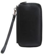 ili Leather Zip Around Chequebook Wristlet Wallet with RFID Blocking