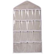 Kwok 16Pockets Clear Hanging Bag Socks Bra Underwear Rack Hanger Storage Organiser