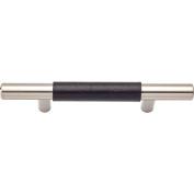 Lola & Company 7.6cm Centre-to-Centre Brushed Nickel/Black Leather Zanzibar Bar Cabinet Pull