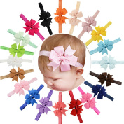 20Pcs 11cm Big Bows Baby Girls Toddlers Kids Teens Children Grosgrain Ribbon Hair Bows Soft Elastic Baby Headbands