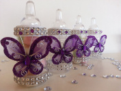 12 Purple Fillable Butterfly Bottles Baby Shower Favours Prizes Girl Decorations