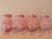 12 Pink Fillable Bottles Baby Shower Favours Prizes Games It's a Girl Decoration