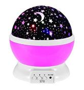 FEIYI Starry Night Light Lamp,Romantic LED Moon Sky Star Dreamer Desk Rotating Cosmos Starlight Projector for Children Kids Baby Bedroom