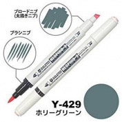 Deleter Neopiko-2 Refillable Dual Tip Alcohol Single Marker [Y-429 holly green (pantone 5625U)] for Comic Manga Graphic Illustration
