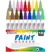 U.S. Art Supply 18 Colour Fine Point Tip Paint Pen Set