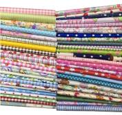 "Misscrafts 50pcs 12"" x 12"" (30cm x 30cm) Top Cotton Craft Fabric Bundle Squares Patchwork DIY Sewing Scrapbooking Quilting Dot Pattern"