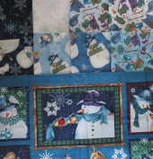 Creature Comforts by Barb Tortillotte from Clothworks 8 fat quarters + 1 panel Cotton Quilt Fabric Snowmen & Animals