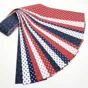 Patriotic Jelly Roll 18 Quilting Fabric Strips Red White Blue Stars 6.4cm x 110cm Precut