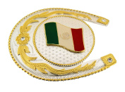 Mexico Country Flag Belt Buckle Horse Shoe Two Tone
