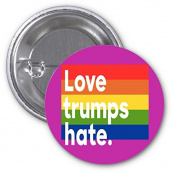 Love Trumps Hate Rainbow 2 PACK of 7.6cm Buttons Flare by Debbie's Designs
