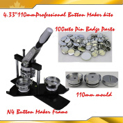 "N4 3"" (110mm) kit !Badge Button Maker + Circle Cutter +100 Pin Badge SCHOOL PARTY COMPANY DIY!"