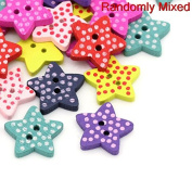 "areeratshop Wood Sewing Button Scrapbooking Stars Mixed Two Holes Dot Pattern 16.0mm( 5/8"") x 15.0mm( 5/8""), 20 PCs 2015 new"