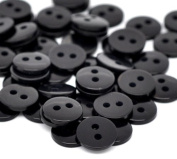 "areeratshop Resin Sewing Button Scrapbooking Round Black Two Holes 9mm(3/8"")x 2mm(1/8""),100 PCs 2015 new"