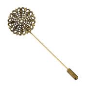 HooAMI 10 Bronze Tone Filigree Flower Beading Coat Stick Pin with Clutch Brooches 7.5x2.5cm