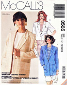 McCall's # 3565 Button Front Long Short Sleeve Jacket Sewing Pattern Size