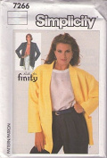 Simplicity # 7266 NIFTY Ricki For Finity Designer Oversized Boxy Blazer Jacket Sewing Pattern Size