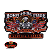 Hot Leathers, BORN TO BE FREE with Eagle and Motor, Iron-On/Saw-On PATCH, 5``x3`` .supply.from:tiny-giants