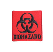 Athena Biohazard 7.6cm Red Embroidered Sew/Iron-On Patch Applique