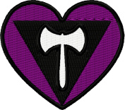 Lesbian Pride Flag Heart Iron On Embroidered Patch Applique - Black, White, Purple - 5.7cm x 5.1cm Heart