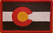 [Single Count] Custom and Unique (8.9cm x 5.7cm Inches) COLORADO STATE FLAG Rectangle Patriotic National Bordered Flag Badge Iron-On BLACK & WHITE VERSION Embroidered Applique Patch RED BORDER