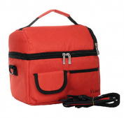 Naovio Large Reusable double-deck Insulated Lunch Box Bag Outdoor Travel Picnic Cooler Tote Bag Extra Capacity for Food Breastmilk with Shoulder Strap,Red