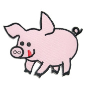 Pink Pig DIY Embroidered Sew Iron on Patch