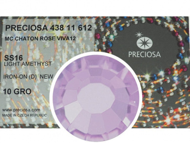 Light Amethyst HOTFIX, 1440 Preciosa Genuine Czech Crystals 16ss Viva12 Iron-on, ss16, 4mm