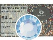 Aquamarine HOTFIX, 1440 Preciosa Genuine Czech Crystals 16ss Viva12 Iron-on, ss16, 4mm