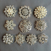 10 pcs Assorted Rhinestone Buttons Brooches Crystal Buttons Pearl Buttons Embellishment Set AMBT165