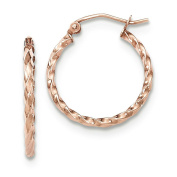 2mm x 20mm 14k Rose Gold Small Twisted Round Hoop Earrings