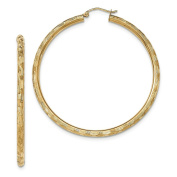 3mm x 55mm 14K Yellow Gold Textured Round Hoop Earrings
