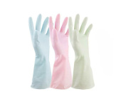 3 Pairs Candy Coloured Waterproof Water Stop Latex Rubber Kitchen Gloves Dishwashing Gloves Non Slip Household Gloves