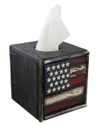 Decorative Rustic Wooden Square Tissue Box Cover - USA American Flag Red White Blue