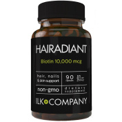 """ILK Company's Premium Biotin - """"Hairadiant"""" - Non-GMO - Made By Nature Crafted Hair, Nails & Skin Enhancer - 90 Vegetarian Capsules - Supports Radiant Hair, Nails, Skin & Brain"""